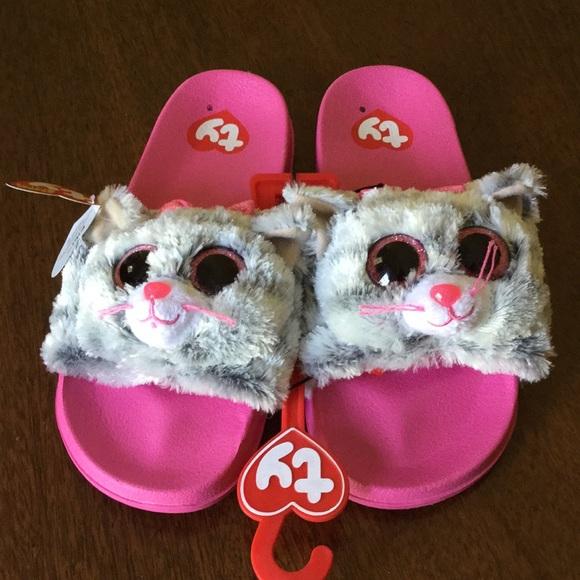 6154e231cd55b6 TY BEANIE BOO Kitty Cat Slide Sandal NWT